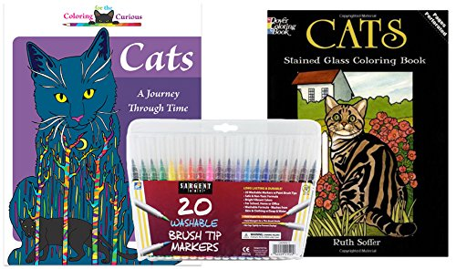 Sargent Art Washable Firm Brush Tip Markers In A Case Set Of 20 And 2 Adult Coloring Books For Curious Cats Dover Stained Glass Stress
