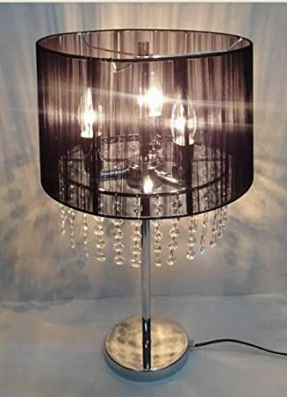 55cm Crystal Chandelier Silver Finish Table Lamp With
