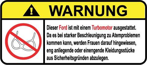 Ford Turbo Motor German Lustig Warnung Aufkleber Decal Sticker