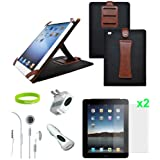 CrazyOnDigital 7 items Accessories Leather Case Charger Screen Protector Compatible with Apple iPad 2 2nd Generation 16GB 32GB 64GB 3G Wifi. CrazyOnDigital Retail Packge ~ CrazyOnDigital