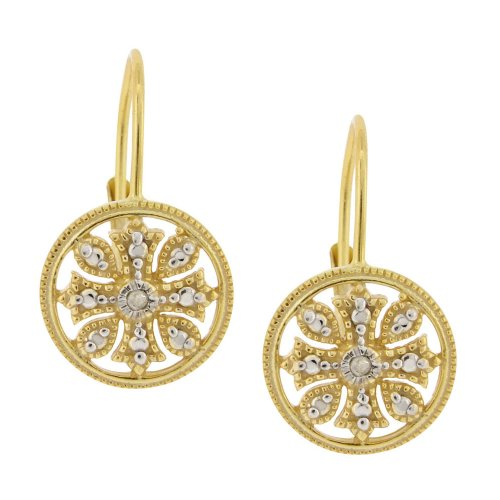 18k Yellow Gold Plated Sterling Silver Diamond Accent Floral Circle Leverback Earrings