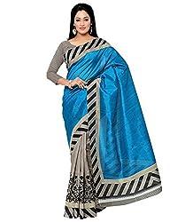 Needle Impression Bhagalpuri Silk Saree (WS01_BLUE)