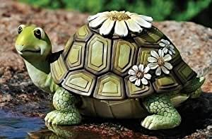 Pack of 2 whimsical daisies all over turtle for Whimsical garden statues