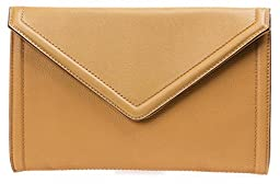 Isaac Mizrahi Designer Handbags: Leather Darcy Clutch/Convertible Shoulder Bag - Butterscotch