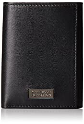 Kenneth Cole Reaction Men\'s Sheepskin Leather Traveler Trifold Wallet, Black, One Size