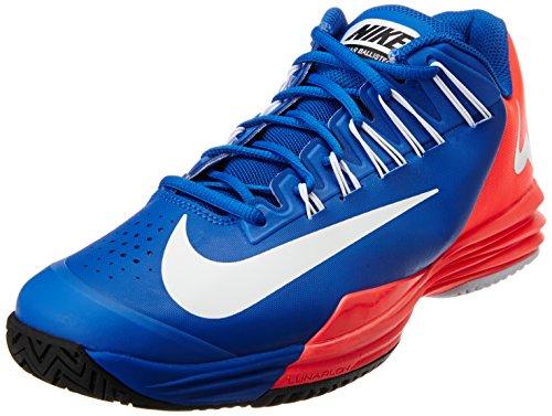 NIKE Lunar Ballistec Men's Tennis Shoe, Blue/Pink, US11.5