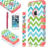 iPhone 5S case, ULAK Colorful Wave Hybrid High Impact Soft TPU + Hard PC Case Cover for Apple iPhone 5S 5 5G with Screen Protector and Stylus (Bright pink)