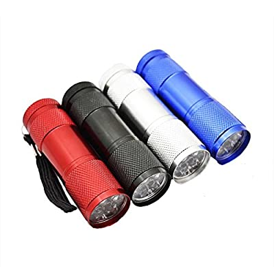 Lifeforce 9 Led Aluminum handheld Flashlight Torch Four Color Great Mini Portable Light(AAA battery included)