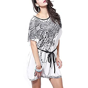 DJT Femme Elegant Tee-Shirt avec Dessin Fleur Top-Shirt imprime Manches Chauve-Souris Style 23 Blanc