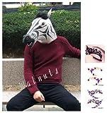 【ELEEJE】人気のコスプレ衣装仮装ハロウィンクリスマスレディースメンズあっと驚くアニマルマスクシマウマ(しまうま白黒ゼブラ柄タトゥシール付き)