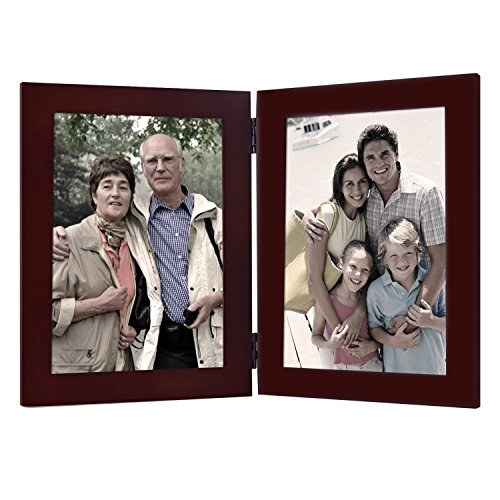 Adeco Decorative Walnut Color Wood Hinged Table Desk Top Vertical Picture Photo Frame, 2 Openings, 5x7 inches (Pet Pic Frame compare prices)
