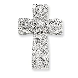 14k White Gold Diamond Filigree Cross Pendant