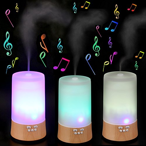 Origlam® 120Ml Wood Humidifier Amoratherapy Essential Oil Diffuser Ultrasonic Humidifier Air Purification Machine With Music Speaker & Light Function (Light Brown)