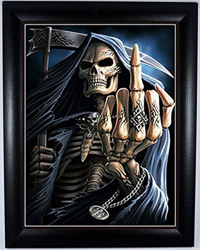 Teschio (Game Over; Teschio con pistole e rude gesto: Il dito): tre immagini (Scene) in uno 3Dimensional immagini a colori, Legno, Black Frame, Black Framed 46 x 36 cm