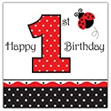Creative Converting Ladybug Fancy Happy 1st Birthday Luncheon Napkins, 16-Count