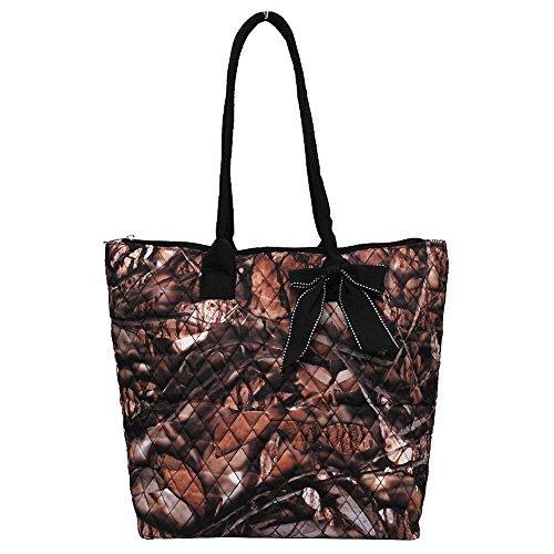 Quilted Camo Print Medium Tote Bag (Black)