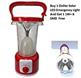 Onlite-Solar LED Emergency Light with In-Built Solar Panel and Brightness Control with Mobile Charging USB