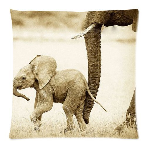 Vintage Safari Baby Animals Elephant African Wildlife Throw Pillow Case Cushion Covers Square 18x18 Inch