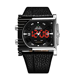 Mens Cool Analog-LED Dual Time Display 30ATM Waterproof Wrist Sports Watch (All Black)