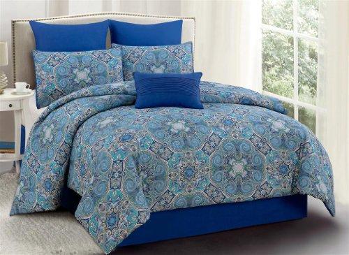 104 x 88, Kess InHouse Kess Original Namaste in Bed Teal Blue WhiteKing Cotton Duvet Cover