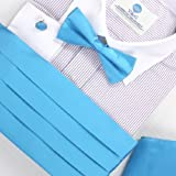 Steel Blue Italy Design Bow Tie Pre-tied Hanky Cufflinks and Cummerbund Set with Box Cm1018  Turquoise