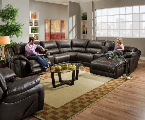 Simmons 50660 Blackjack Brown Leather Sectional Sofa