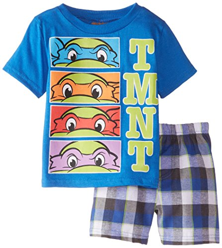 Nickelodeon Little Boys' Ninja Turtle Toddler Tee and Woven Plaid Short Set
