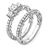 1.65 Carat (ctw) 14k White Gold Round Diamond Ladies Vintage Bridal Ring Engagement Set Matching Wedding Band (Size 7)