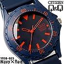 [シチズン]CITIZEN Q&Q 腕時計 10気圧防水 ウレタンバンド メンズ レディース ユニセックス VR38-923 ネイビーレッド [国内正規品]