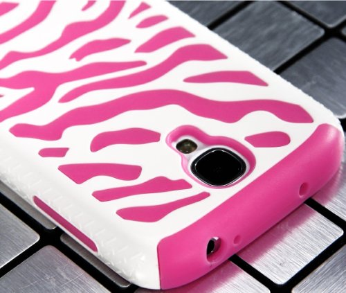 "myLife (TM) White and Pink Zebra Stripe Design (2 Piece Hybrid Bumper) Hard and Soft Case for the Samsung Galaxy S4 ""Fits Models: I9500, I9505, SPH-L720, Galaxy S IV, SGH-I337, SCH-I545, SGH-M919, SCH-R970 and Galaxy S4 LTE-A Touch Phone"" (Fitted Back Solid Cover Case + Internal Silicone Gel Rubberized Tough Armor Skin + Lifetime Warranty + Sealed Inside myLife Authorized Packaging) &quo at Amazon.com"