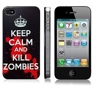 KEEP CALM and KILL ZOMBIES Design Noir Coque de protection Hardcase pour Apple iPhone 4 4S (Inclure Film Protection ecran)