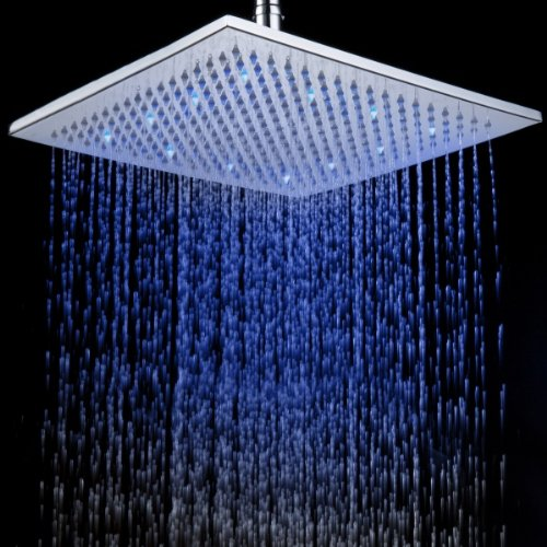 16 Inches Raining Shower Head Led Changing Color Over-Head Shower Spray