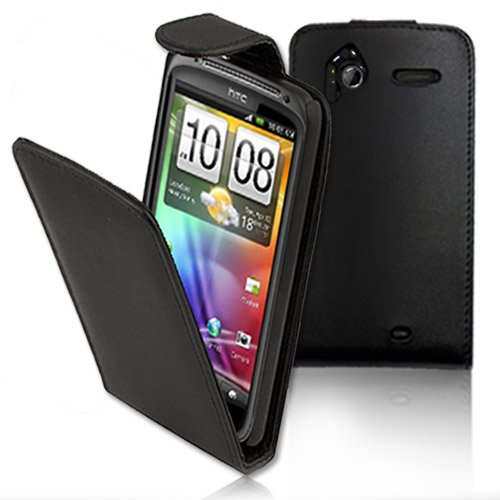 GADGETSNTECHS HTC SENSATION / SENSATION XE PREMIUM BLACK TOP FLIP LEATHER CASE^^INCLUDES SCREEN PROTECTOR AND POLISHING CLOTH^^
