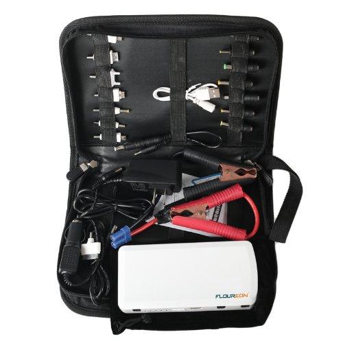 Floureon® 15000 Mah Multi-Function 12V 400Amp Portable Jump Starter With Led Flashlight, Power Bank / Pack Exteral Power Battery, 12V Car Battery Charger, Output 5V/12V/19V, White