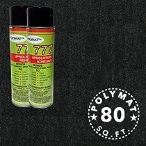 2 cans 777 Glue + 20ft *4ft Wide Polymat Black Speaker Box Carpet Dj Speaker Cabinet Enclosure Carpet Truck Car Trunk Liner, and Dash Cover
