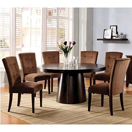 Havana Contemporary Style Espresso Finish 5-Piece Round Dining Room Table Set