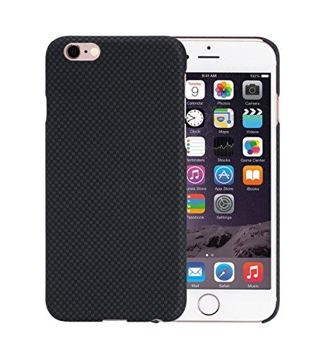 [PITAKA-正規品] iPhone 6 Plus / 6s Plus 対応ケース 高級アラミド製(軍用材料) 5.5インチ アイフォンプラス用 携帯スマホ保護カバー おしゃれ シンプル クール 薄/軽量 強化ガラスフィルム付き 豪華シリーズ ブラック/グレー(プレーンタイプ)