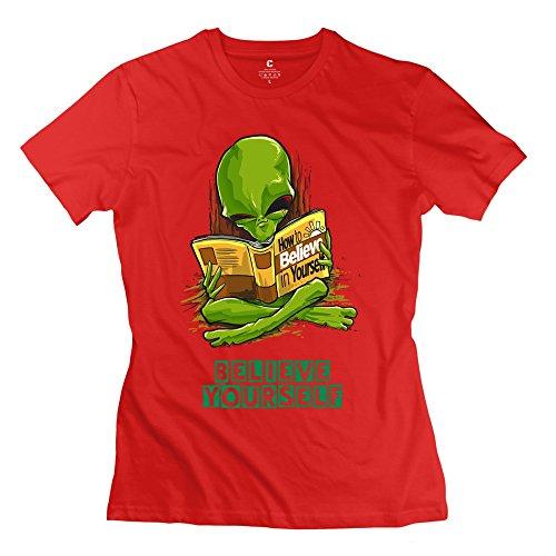 Women'S Aliens Read Book T-Shirt L Red Cotton Vintage Apparel