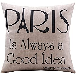 Create For-Life Cotton Linen Decorative Pillowcase Throw Pillow Cushion Cover Paris is Always a Good Idea Square Standard