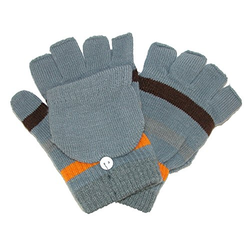 CTM Kids' Stretch Knit Striped Convertible Gloves, Grey (Kids Convertible Gloves compare prices)