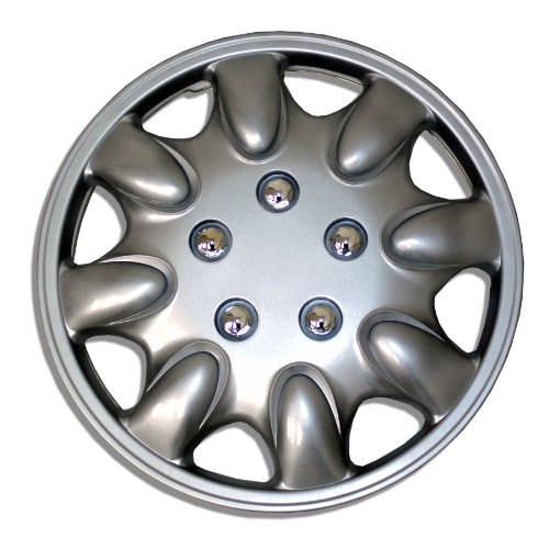 TuningPros WSC-022S15 Hubcaps Wheel Skin Cover 15-Inches Silver Set of 4 (2005 Honda Accord Hubcaps compare prices)