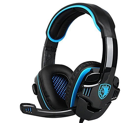 SADES Stereo Gaming Headset, SA708 GT Version Over Ear Computer Headphone with Mic For Laptop PC/Mac/PS4/iPad/iPod/Phones(Black Blue) (Iphone Headphones Old Version compare prices)