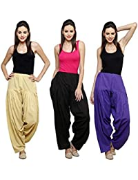 Fashion Store Women's Cotton Patiala Salwar Combo (Black,Royal Blue & Beige & Free Si