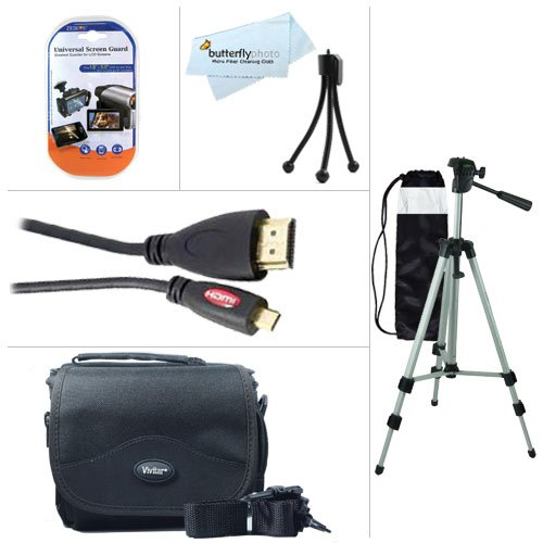 Starter Accessories Kit For The Canon VIXIA Mini Compact Personal Camcorder Includes Deluxe Carrying Case + 50 Tripod With Case + Mini HDMI Cable + LCD Screen Protectors + Mini TableTop Tripod + MicroFiber Cleaning Cloth