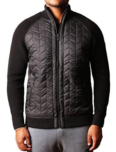 Mens dissidente Zip Cardigan maglione in cotone lavorato a maglia maglione pesante Finneran Nero XXL