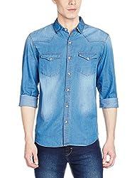 Highlander Men's Casual Shirt (13110001462377_HLSH008882_Large_Mid Denim)