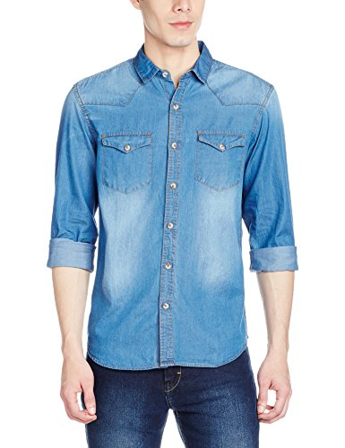 Highlander Men's Casual Shirt (13110001462376_HLSH008882_Medium_Mid Denim)