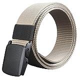 Bolayu Wild Men Canvas Belt Hypoallergenic Metal free Plastic Automatic Buckle Khaki