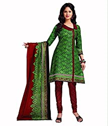 Neerja creation womens cotton Unstiched Dress material(K-1013_Green)