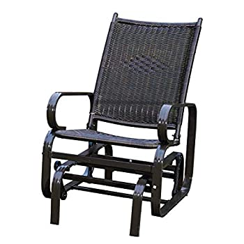SunLife Porch Patio Glider Rocking Chair,PE Rattan Wicker Steel Frame Lawn Indoor Furniture